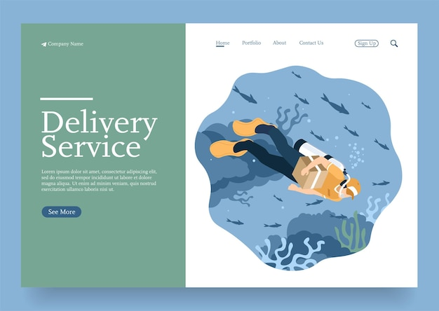 Isometric delivery man swimming delivering parcel at any place in the world isometric concept