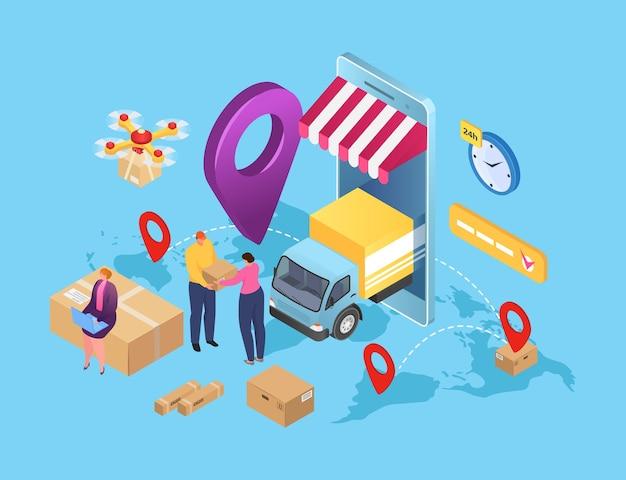 ボックス内の貨物パッケージ小包による等尺性配送サービス