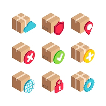 等尺性配信サービスボックスのアイコンを設定します。 3dセキュリティ、マップポインター、設定、世界、段ボール箱でシンボルを完了およびキャンセルします。デザイン、インフォグラフィック、web、モバイルアプリの標識