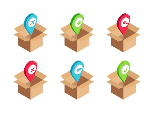 Набор транспортных услуг изометрической доставки. самолет, грузовой фургон, поиск, домой, сделано, отменить символы в открытой картонной коробке. иллюстрация