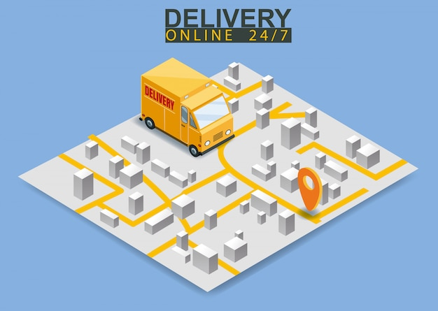 Isometric delivery truck concept. map city logstics online shopping ecommerce concept isometric
