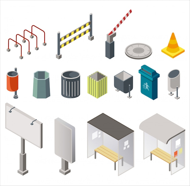 Isometric design of arranged set with urban trash cans, signboards with bus stops, restriction signs isolated on white background.