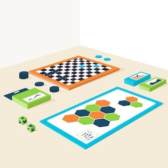 Collezione di giochi da tavolo dal design isometrico