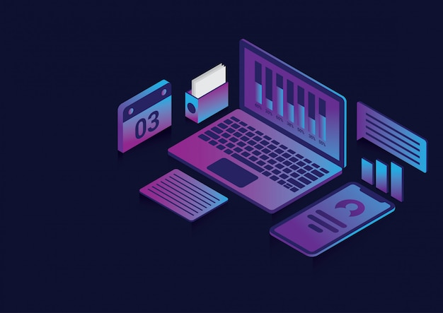 Isometric design for business concept