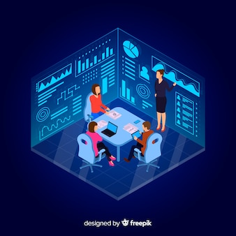 Isometric design business people in a meeting
