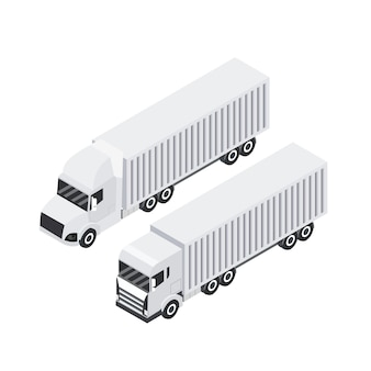 Isometric design of cargo truck. heavy haul trailer