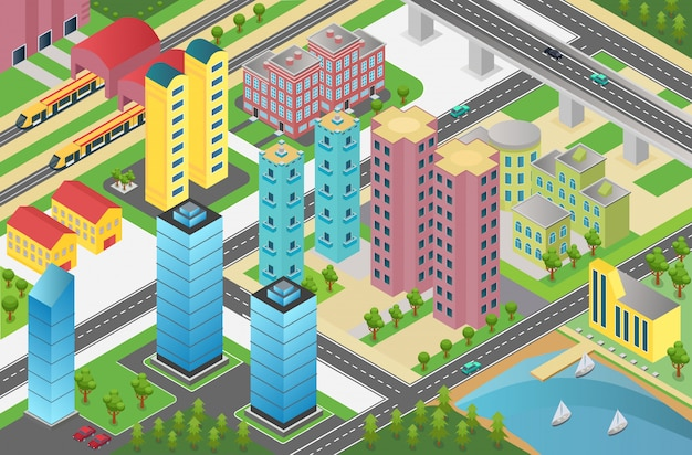 Isometric design of city district with residential buildings and facilities on map