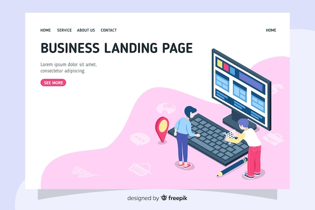 Isometric design company landing page