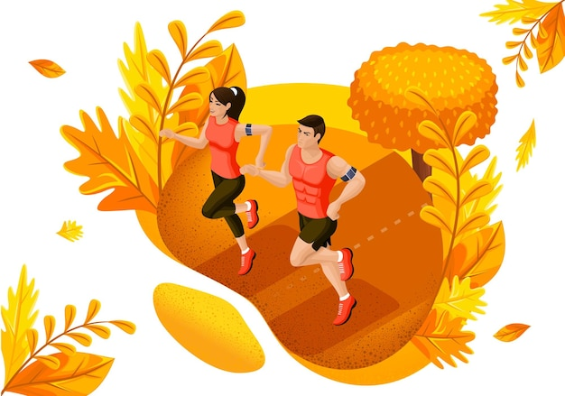 Isometric design concept autumn athletes in the park. sportswear and equipment store. vector illustration.
