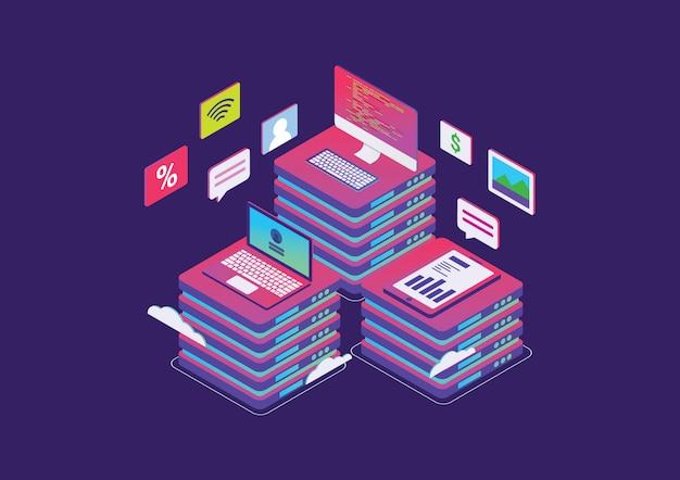 Isometric design for concept of big data processing