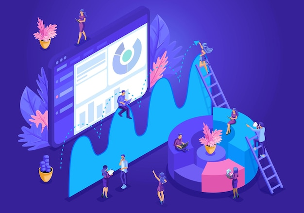 Isometric design concept for landing page. data analysis concept with characters. vector illustration.