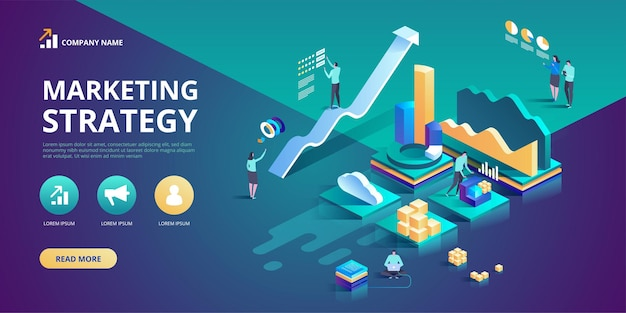 Isometric design concept of marketing strategy for website and m