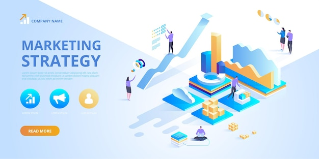 Isometric design concept of marketing strategy