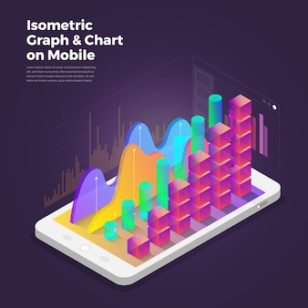 Isometric design concept mobile application analytics tools.