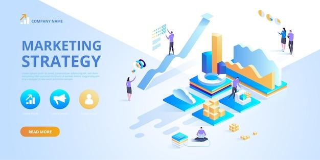 마케팅 전략의 아이소 메트릭 디자인 컨셉