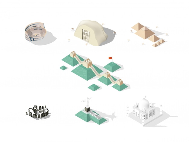 Isometric design concept of seven wonders of the world: colosseum, great wall, petra, taj mahal, cristo redentor, great pyramid of giza