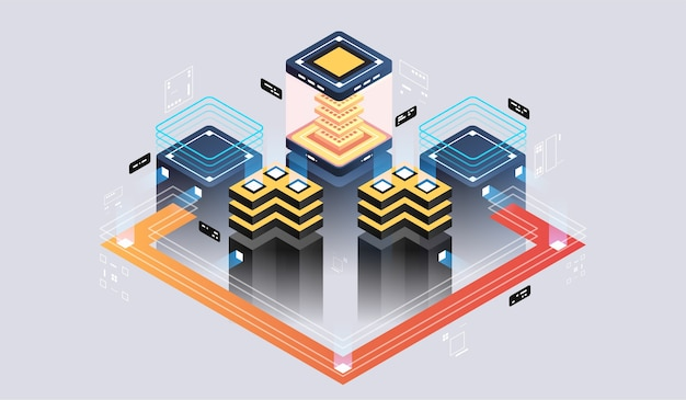 Изометрическая концепция дизайна виртуальной реальности и дополненной реальности