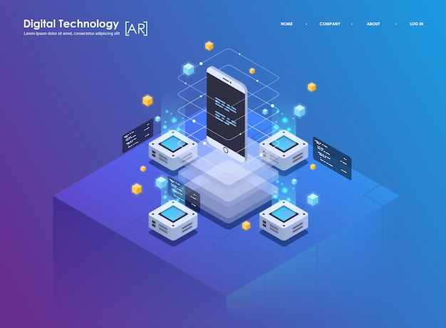 Isometric design concept virtual reality and augmented reality. ar and vr development. digital media technology for website