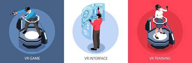가상 현실 인터페이스 재생 및 교육 사람들 일러스트와 함께 아이소 메트릭 디자인 컨셉