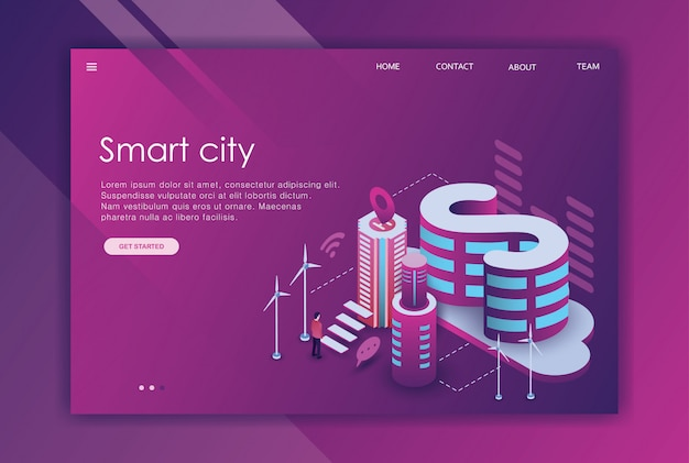 Isometric design landing page business town