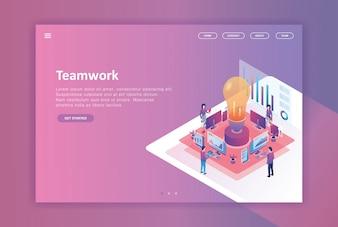 изометрический дизайн целевой страницы бизнеса
