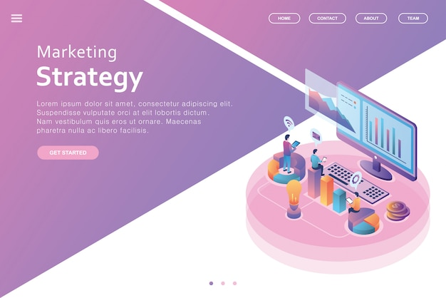Isometric design landing page business