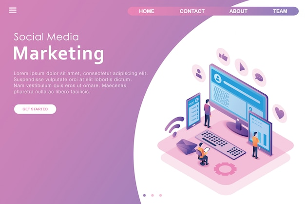 Isometric design landing page social media
