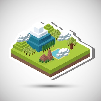Isometric design. nature. eco concept, vector illustration