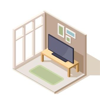 Изометрический дизайн гостиной. телевизор на кофейном столике возле панорамного окна. картины на стене.