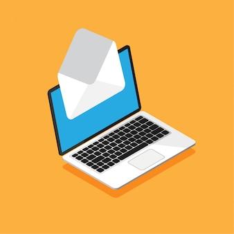 エンベロープと画面上のドキュメントのラップトップの等尺性デザイン。新しい手紙を取得または送信します。電子メール、メールマーケティング、トレンディなスタイルのインターネット広告の概念。図。