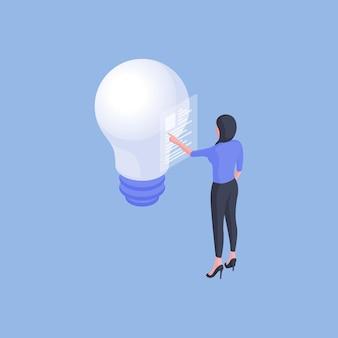 Изометрический дизайн современной женщины-сотрудницы с отчетом о пересмотре бумажного файла, имея идею с лампочкой на синем фоне