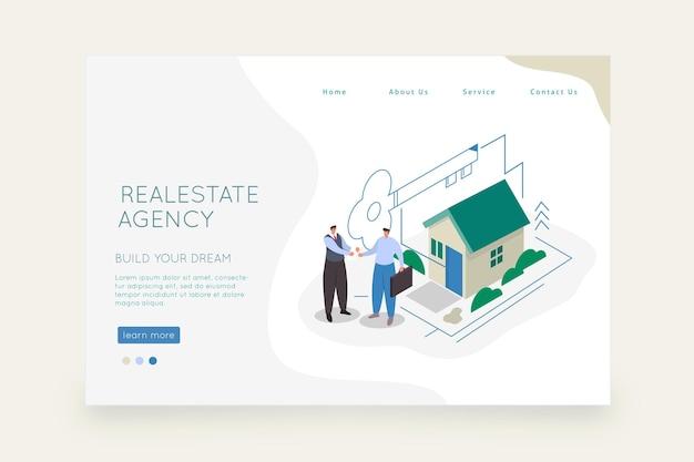 Целевая страница недвижимости изометрического дизайна