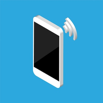 Isometric design of smartphone with wi fi signal.  phone blank screen template. isolated. wi-fi concept.