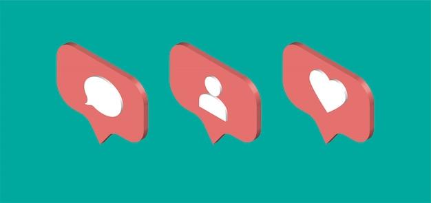 Изометрические дизайн социальных медиа уведомлений. сообщение чата, как, последователь, значок сердца. иллюстрации.