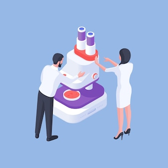 Isometric design of vector illustration with male and female colleagues working in lab and using microscope while analyzing laboratory drug sample