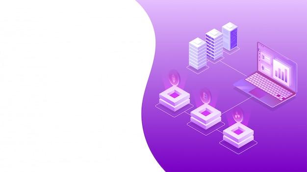 Isometric design of virtual currency exchange platform.