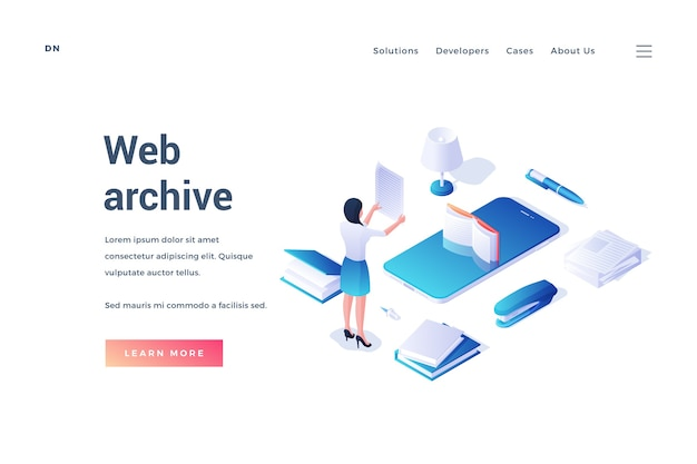 Isometric design of website template