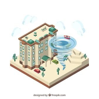 Изометрический дизайн с ураганом