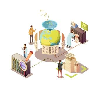Design isometrico con ricerca ed elaborazione