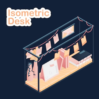 Isometric desk on dark