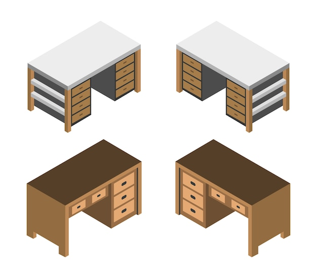 Isometric desk set