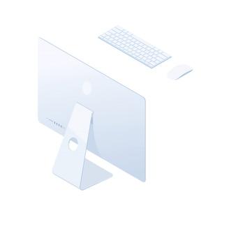 Изометрические настольный компьютер, изолированные на белом фоне.