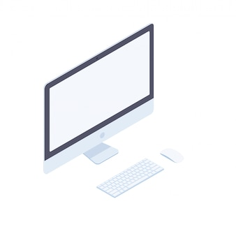 Isometric desktop computer isolated on white background.