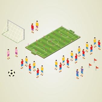 アイソメートの詳細スタジアムのサッカー選手