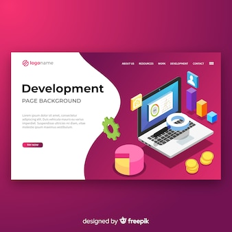Isometric development landing page template