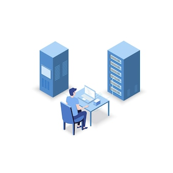 Isometric diagnostic test in a server computer room