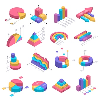 Isometric diagrams infographic set