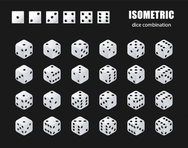 Изометрические кости. набор изометрической комбинации игральных костей. белые покерные кубики