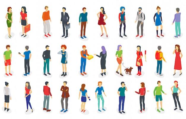 Isometric different people set isolated  illustration.
