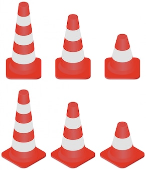 Isometric different size of traffic cones collection isolated on white.